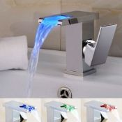 LED Waterfall Bathroom Basin Mixer Tap. RRP £229.99.Easy to install and clean. All copper mou...