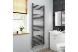 NEW & BOXED 1600x600mm - 20mm Tubes - Anthracite Heated Straight Rail Ladder Towel Radiato...