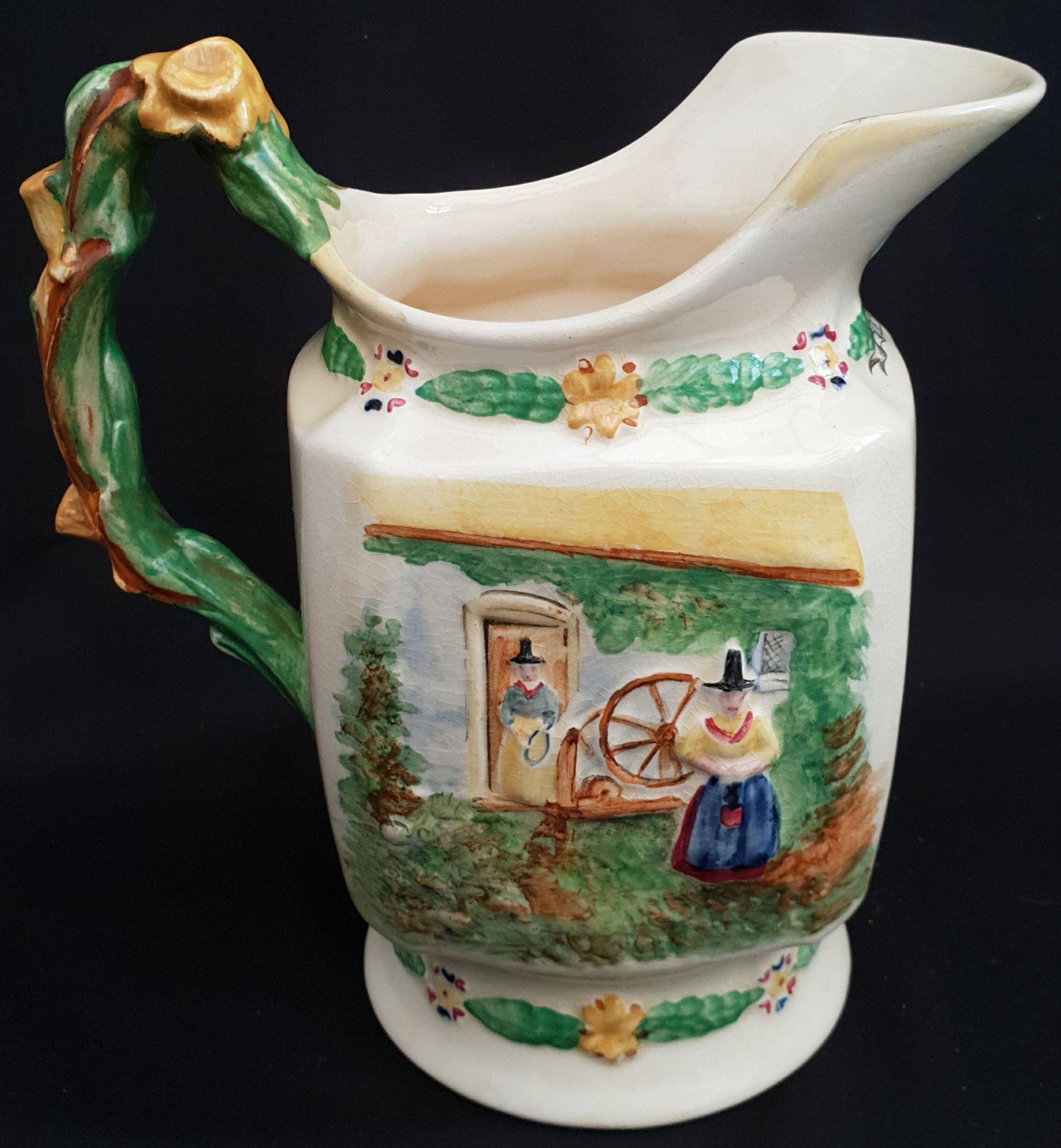 Antique Crown Devon Fielding Welsh Musical Water Jug Llewyn On - Image 3 of 4
