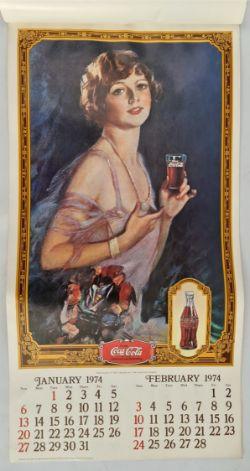 Vintage 1974 Coca Cola Wall Calendar