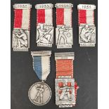 Vintage 6 Swiss Shooting Medals 1950's