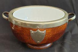 Antiques Oak Salad Bowl With EPNS Bound Rim