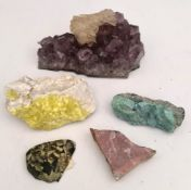 Collectable 5 x Geological Rock Samples Includes Amethyst & Ryolite