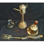 Antiques Arts & Crafts Style Brass & Copper Oil Lamp School Bell Horn Handled Toasting Fork