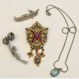 Antique Costume Jewellery Includes 800 Silver & Retro Brooch