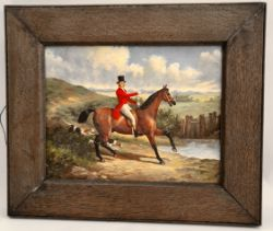 Antique Fine Art Oil on Board Rider & Hounds Signed Lower Right Belle