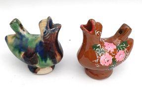 Antique 2 x Pottery Bird Whistles