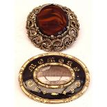 Antique Victorian Jewellery Mourning Brooch & 1 Other