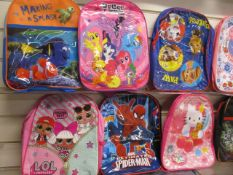 40Pcs Assorted Kids Design Character Backpacks ,From A Mix Of Disney , Marvel , F