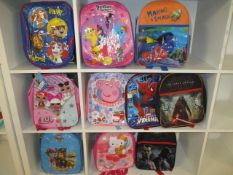 10Pcs Assorted Kids Design Character Backpacks ,From A Mix Of Disney , Marvel , F