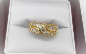 2 Row Baguette Diamond Crossover Diamond Ring