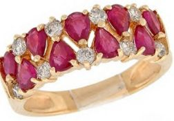 18Ct Yellow Gold Ruby & Diamond Half Hoop Ring