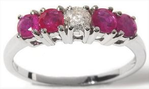 5 Stone Pink Sapphire & Diamond Ring