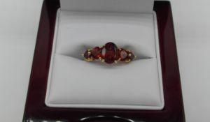 Gold 5 Stone Garnet Ring
