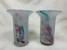 Lovely Pair Of Mdina Glass Vases In Abstract Swirled Design