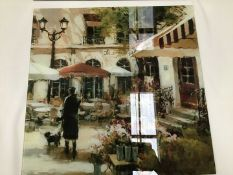 A Charming Wall Art Glass Print Of French Scene