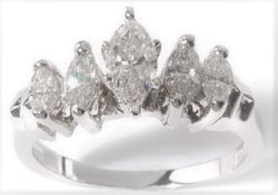 5 Stone 14Ct White Gold Marquise Diamond Ring