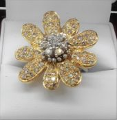 18Ct Yellow & White Gold Floral Design Diamond Ring