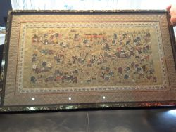 Chinese Embroidered Silk Scroll Framed Artwork