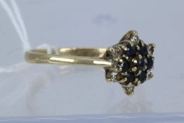 9Ct Yellow Gold Diamond & Sapphire Cluster Ring