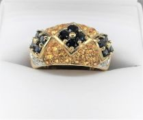 Sapphire, Citrine & Diamond Gypsy Ring