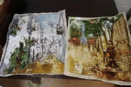 A Pair Of Bernard Dufour Loose Canvas Pictures Of Street Scenes