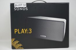 RRP £299.99 SONOS PLAY:3 Smart Wireless Speaker, White