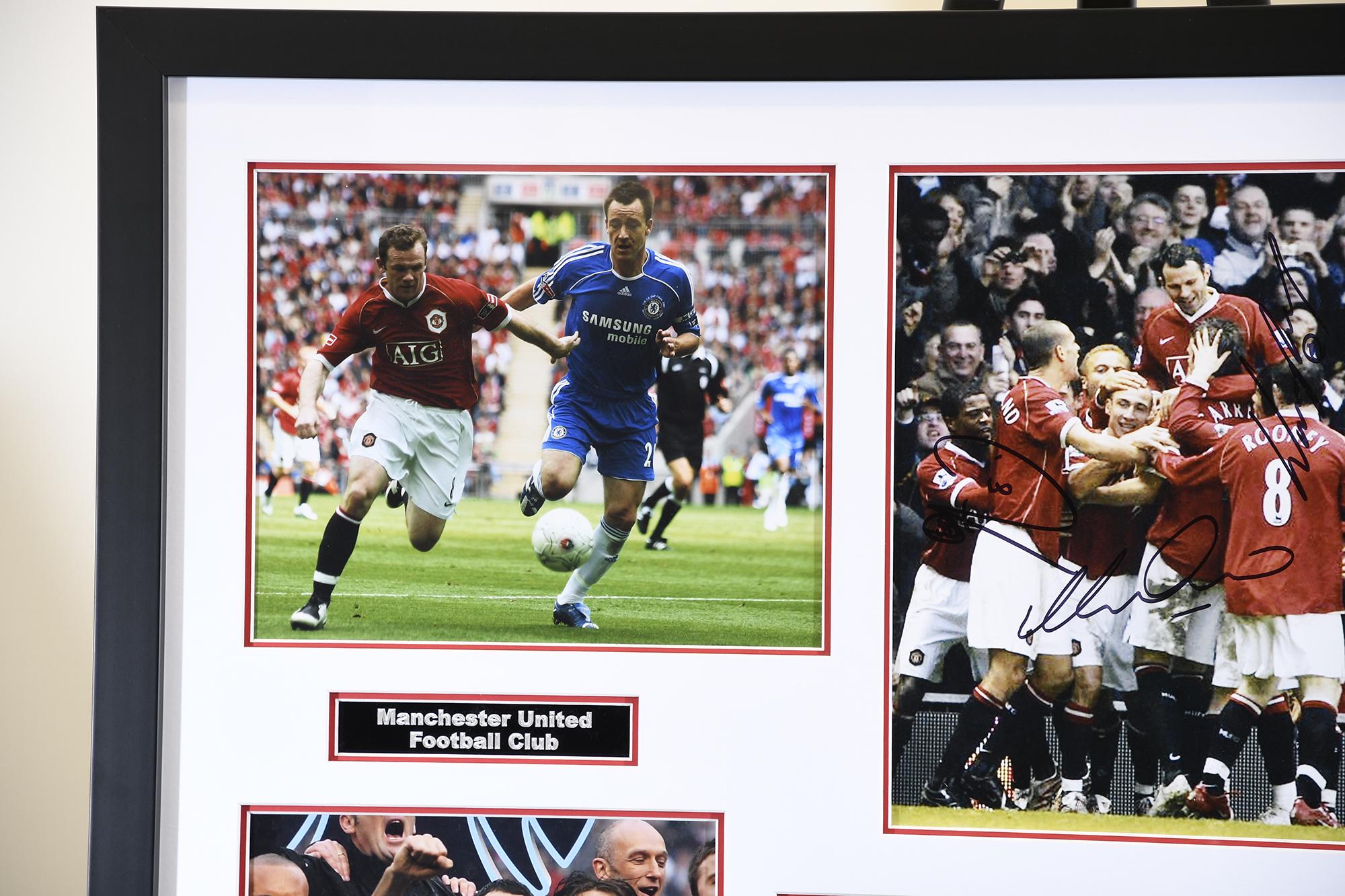 Man Utd Triple Signed Photo Presentation - Image 3 of 5
