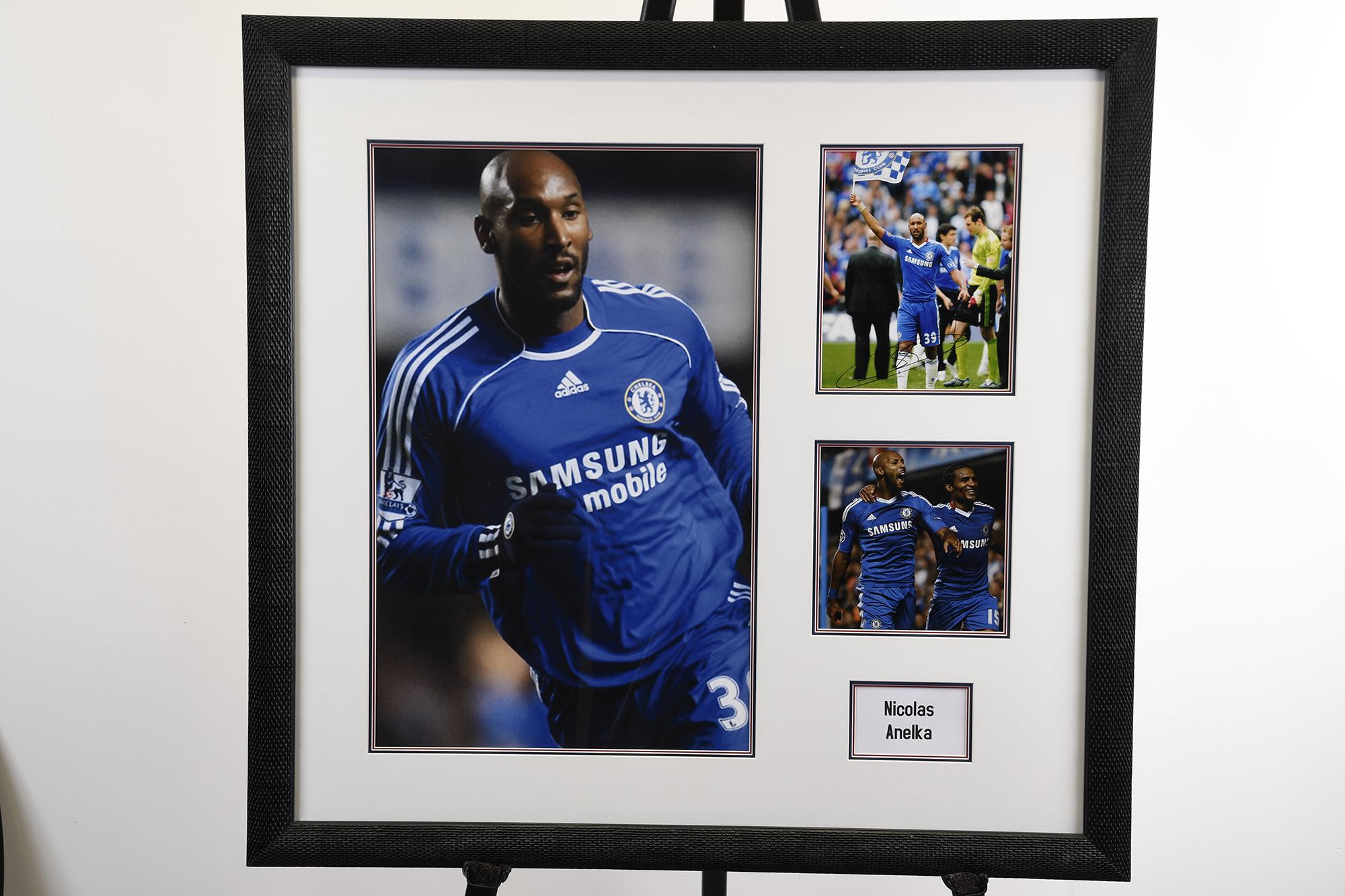 Framed Presentation of Chelsea Footballer Nicolas Anelka.
