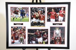 Man Utd Triple Signed Photo Presentation