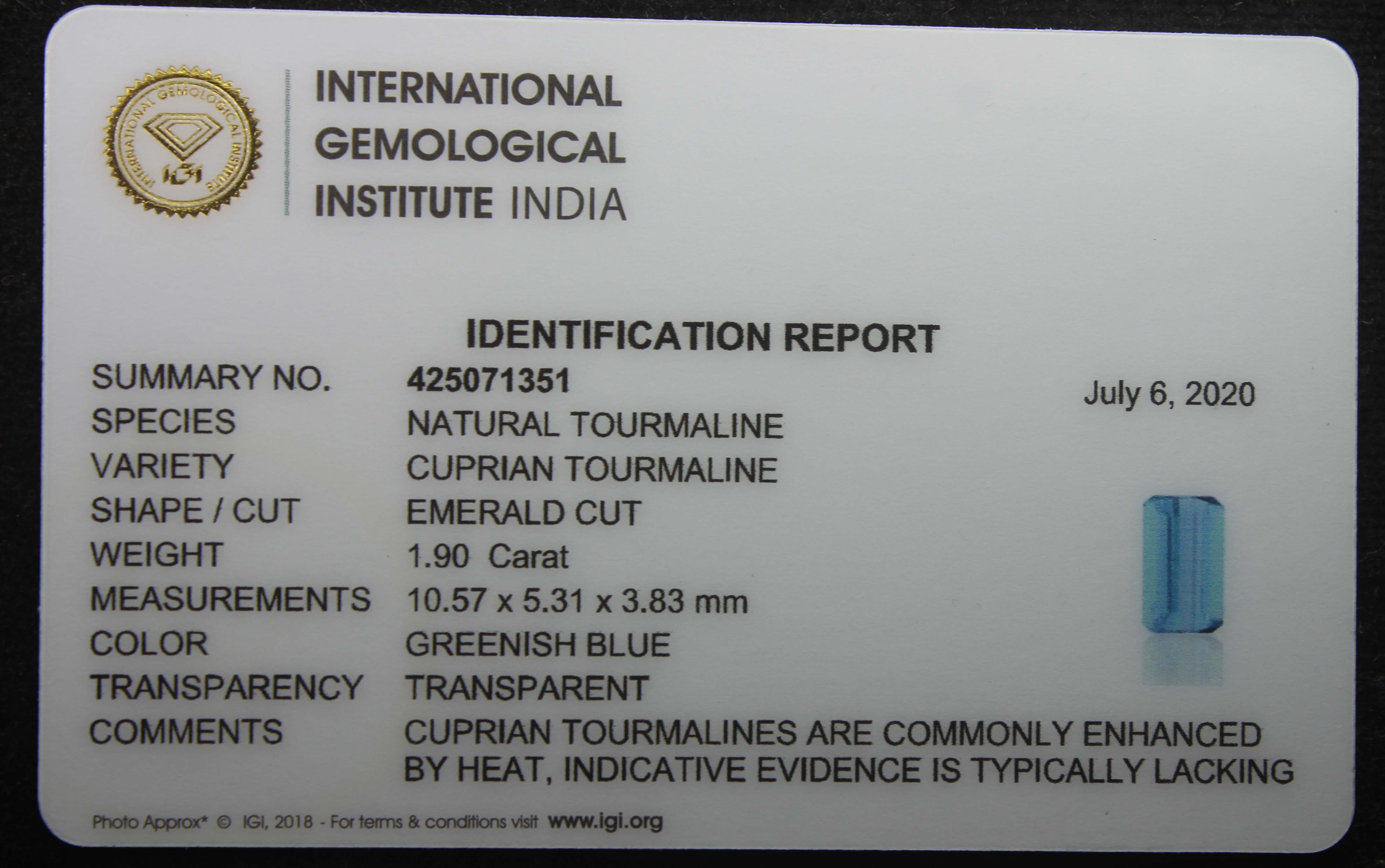 Greenish Blue Tourmaline, 1.90 Ct - Image 5 of 5