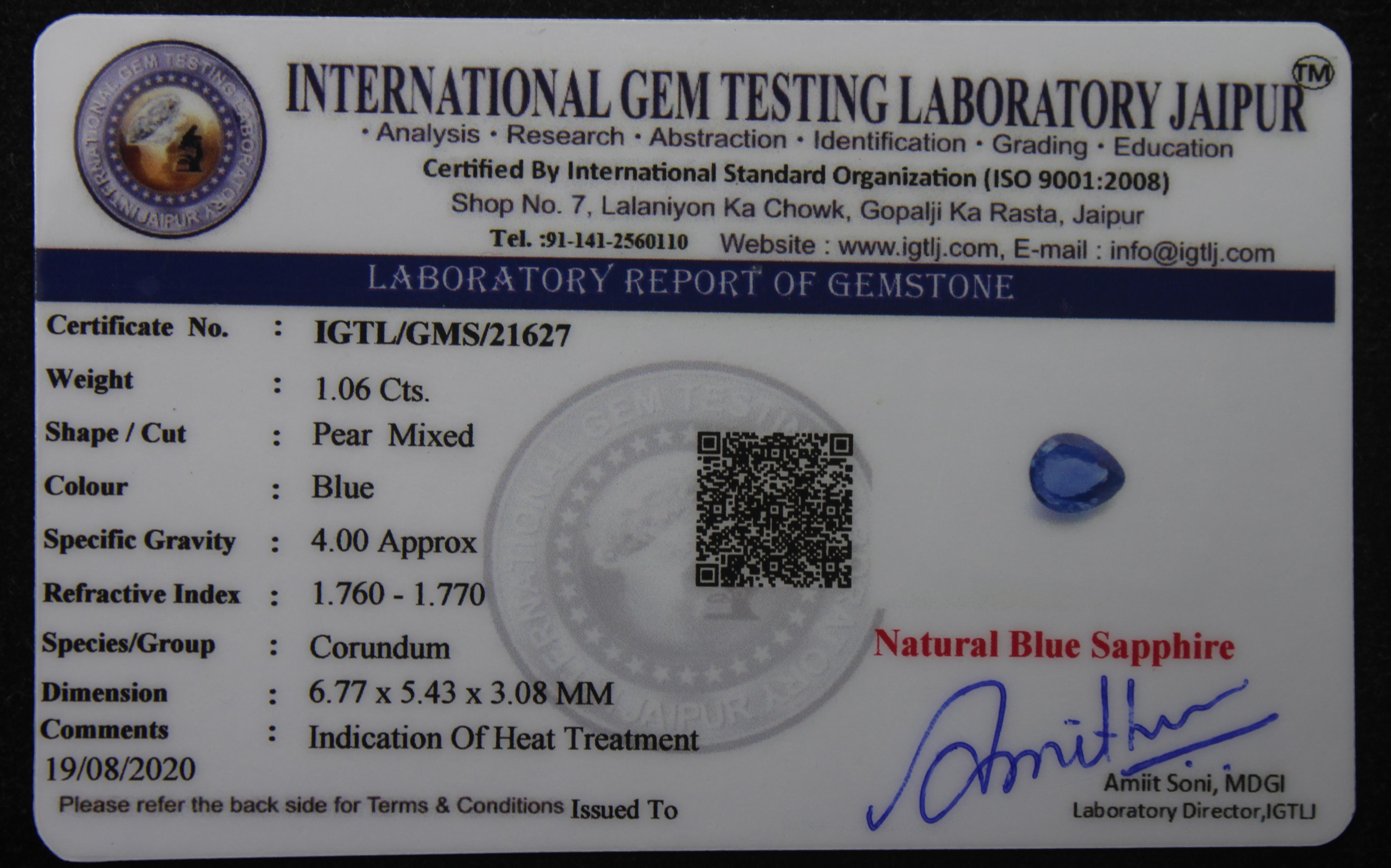 Blue Sapphire, 1.06 Ct - Image 4 of 4