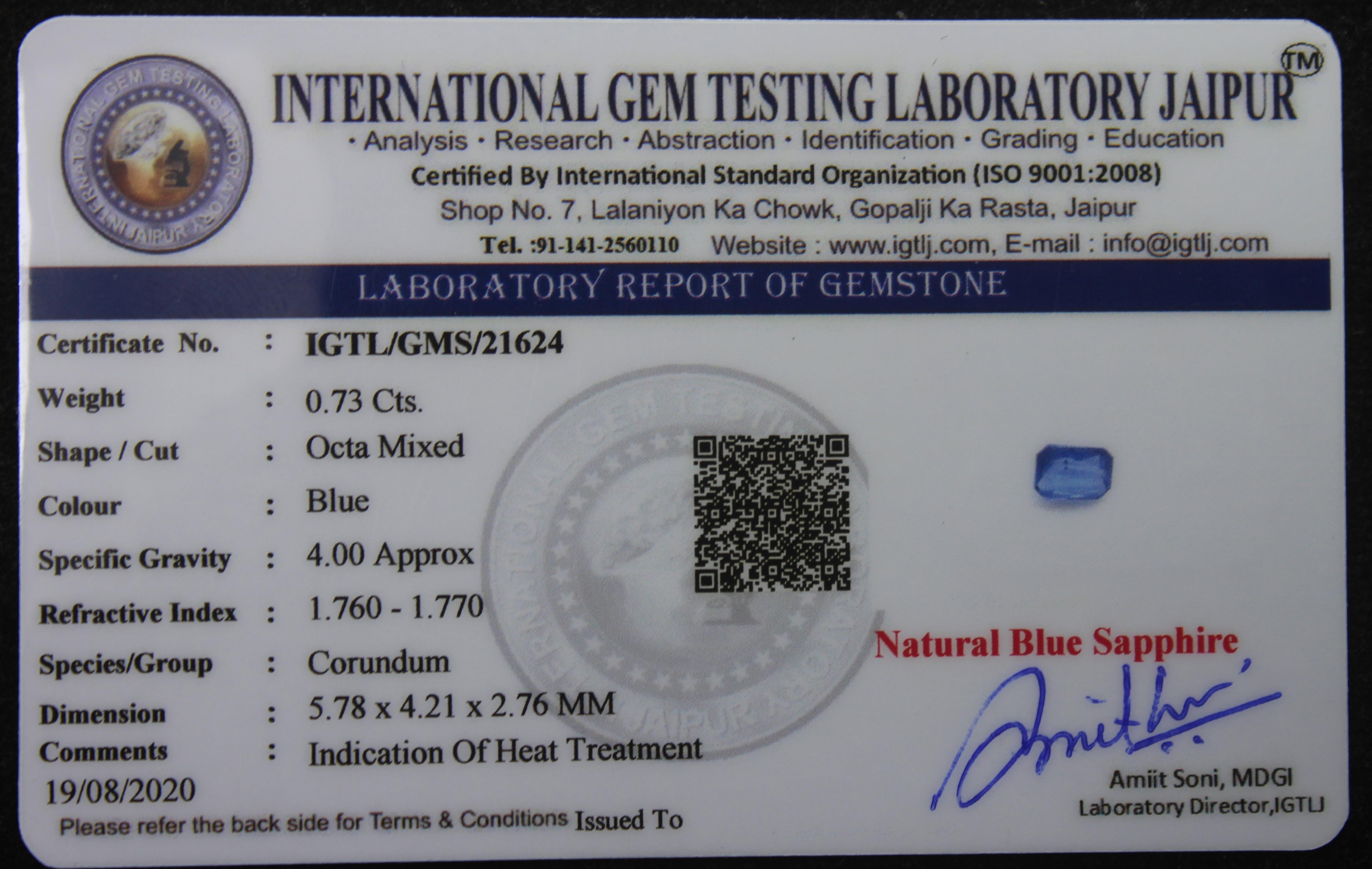 Blue Sapphire, 0.73 Ct - Image 4 of 4