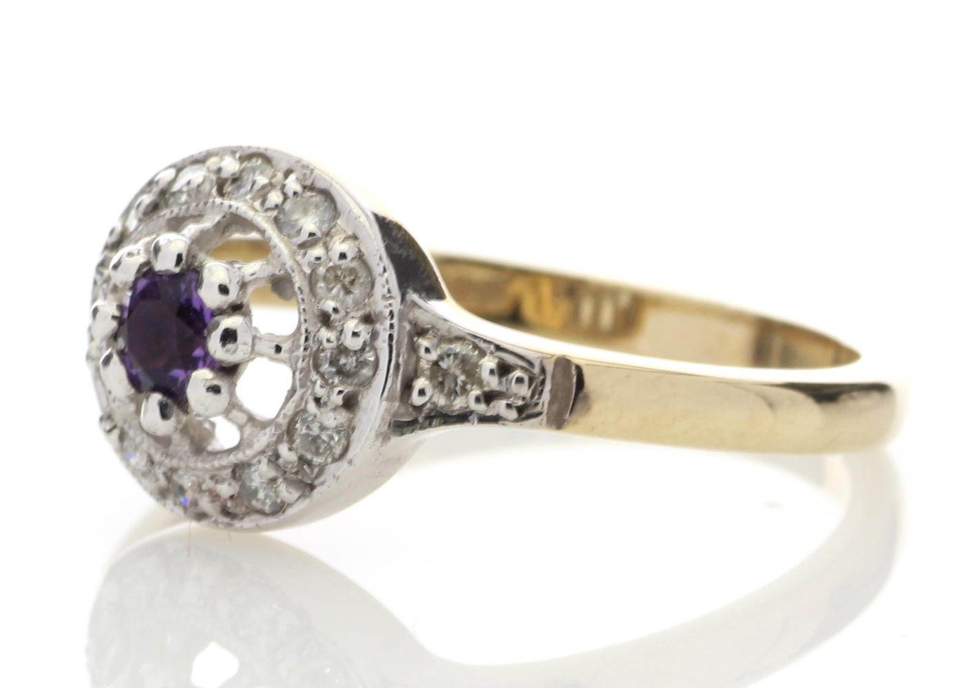 9ct Yellow Gold Round Cluster Claw Set Diamond Amethyst Ring 0.21 Carats - Image 2 of 4