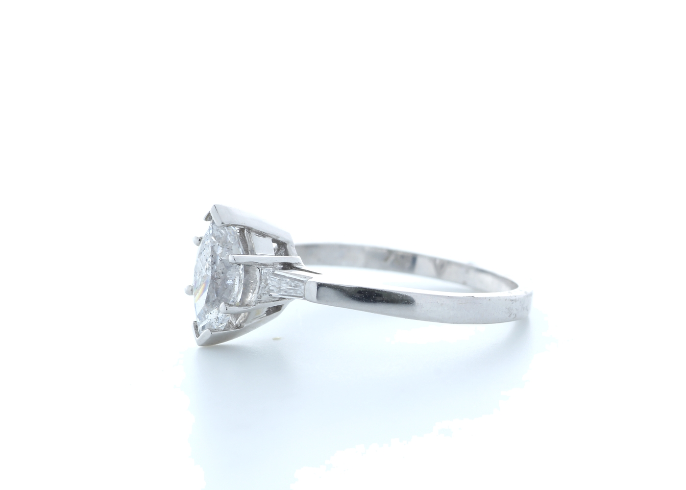18ct White Gold Marquise Diamond With Stone Set Shoulders 1.22 Carats - Image 2 of 5
