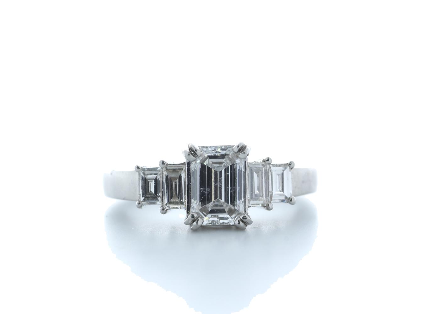 18ct White Gold Emerald Cut Diamond Ring 1.73 (1.23) Carats