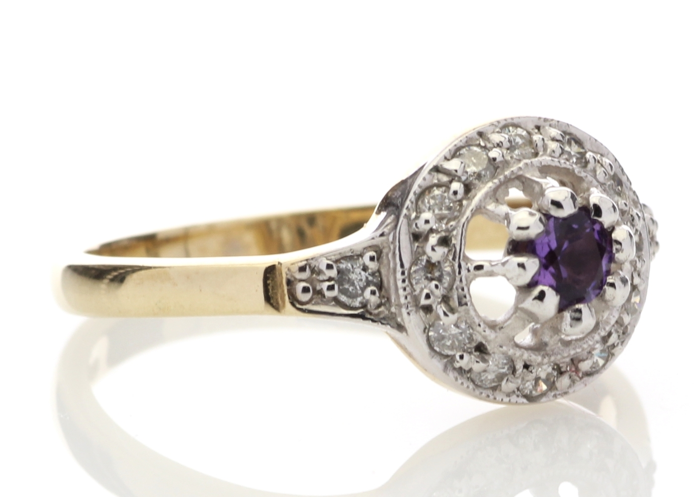 9ct Yellow Gold Round Cluster Claw Set Diamond Amethyst Ring 0.21 Carats - Image 4 of 4