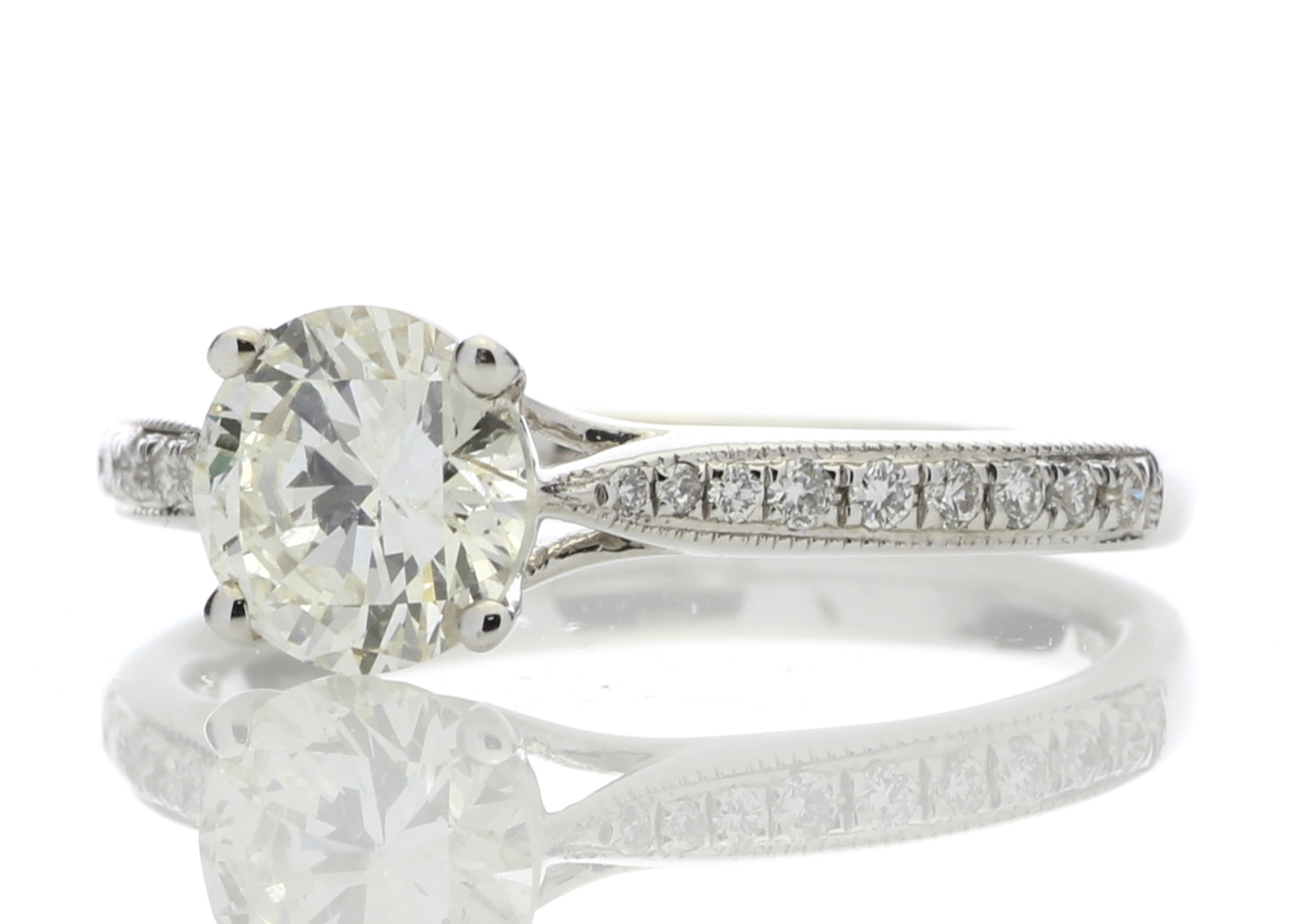 18ct White Gold Diamond Ring With Stone Set Shoulders 1.15 Carats - Image 2 of 5