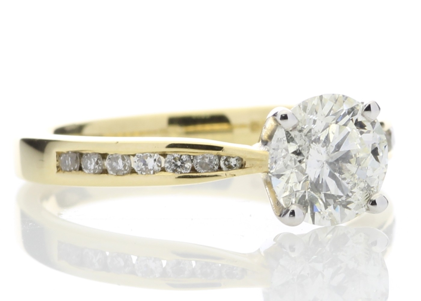 18ct Yellow Gold Diamond Ring With Stone Set Shoulders 1.28 Carats - Image 4 of 5