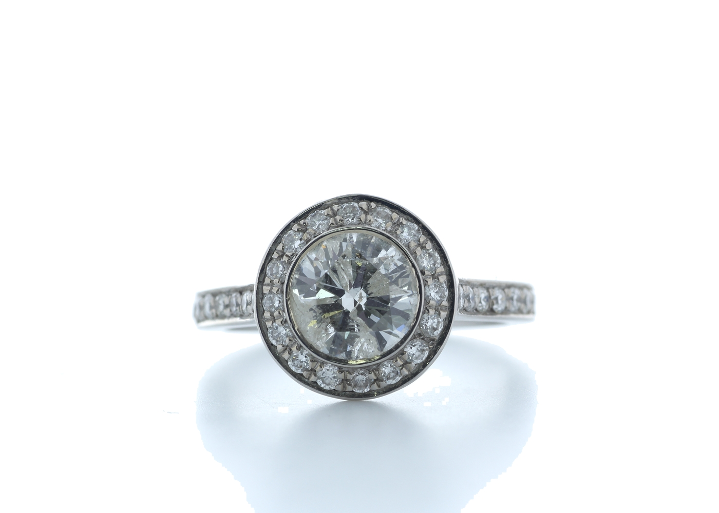 18ct White Gold Single Stone With Halo Setting Ring 2.00 (1.50) Carats