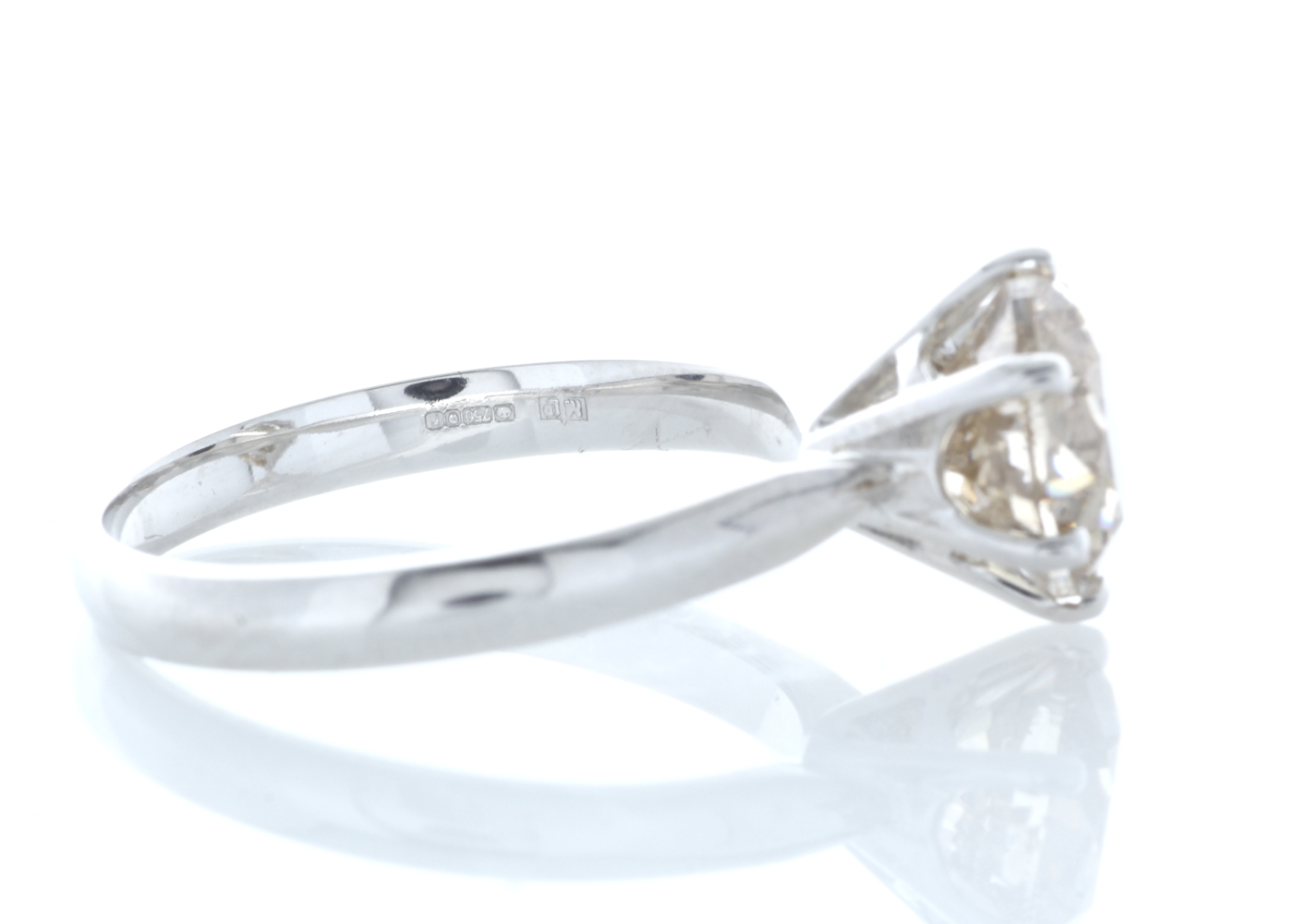 18ct White Gold Single Stone Claw Set Diamond Ring 2.58 Carats - Image 4 of 5