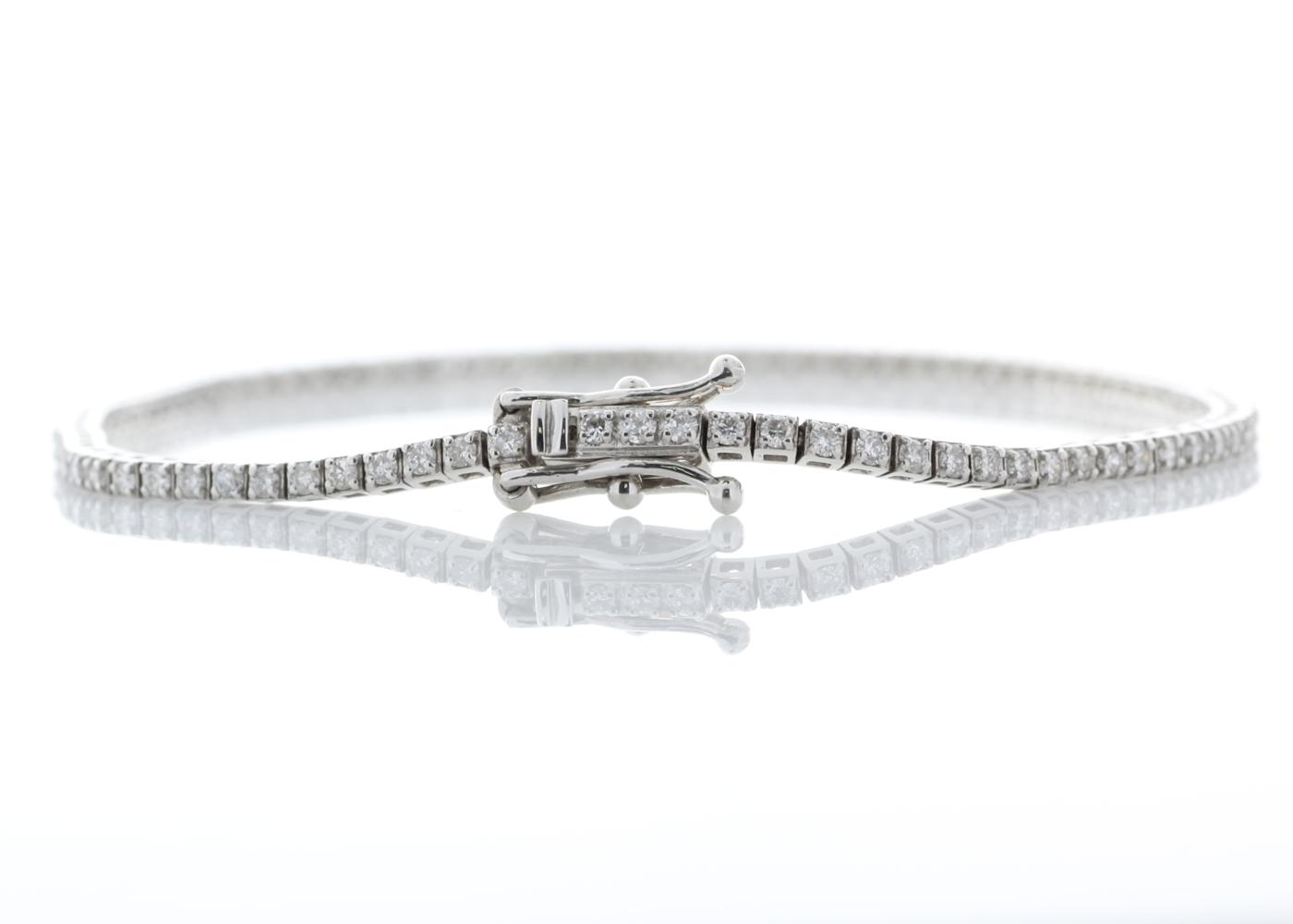 18ct White Gold Tennis Diamond Bracelet 1.11 Carats - Image 2 of 3