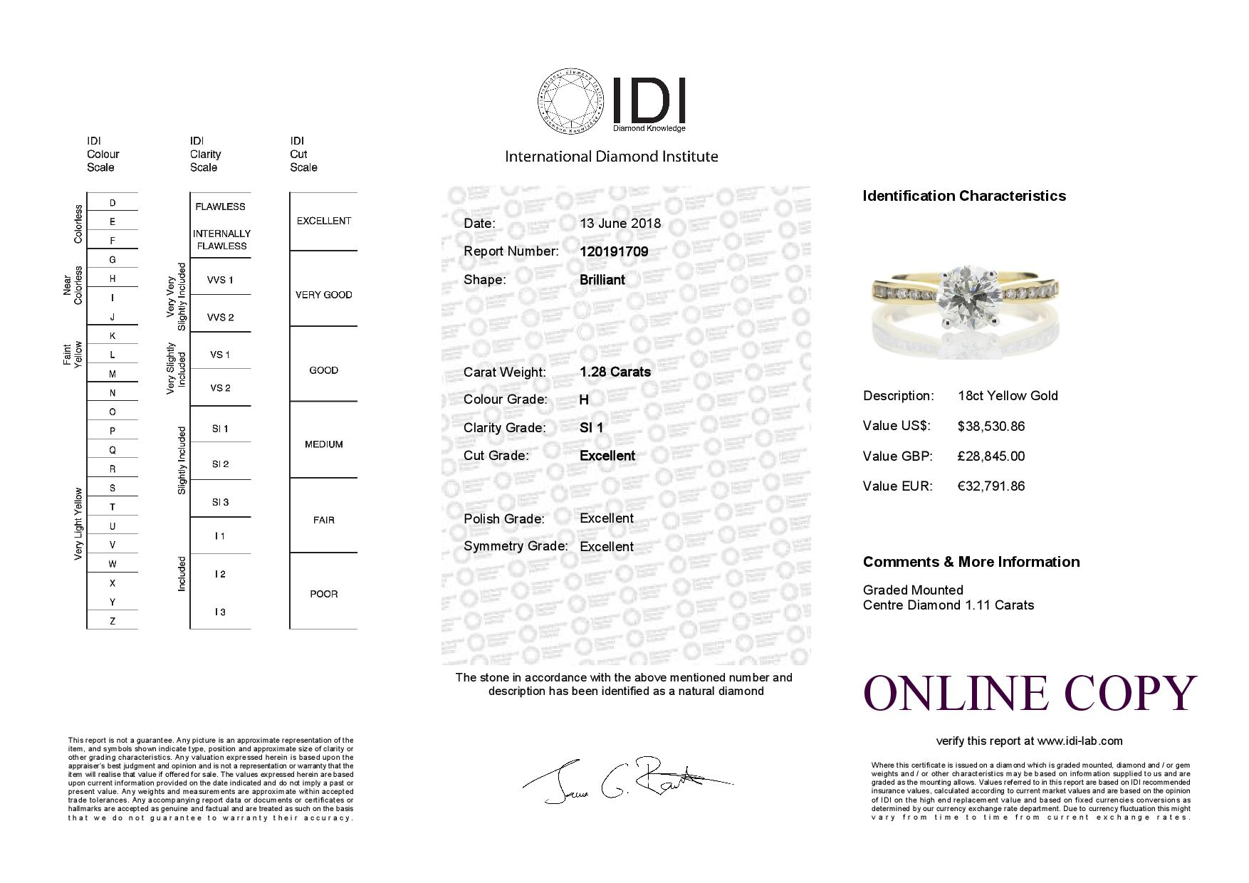 18ct Yellow Gold Diamond Ring With Stone Set Shoulders 1.28 Carats - Image 5 of 5