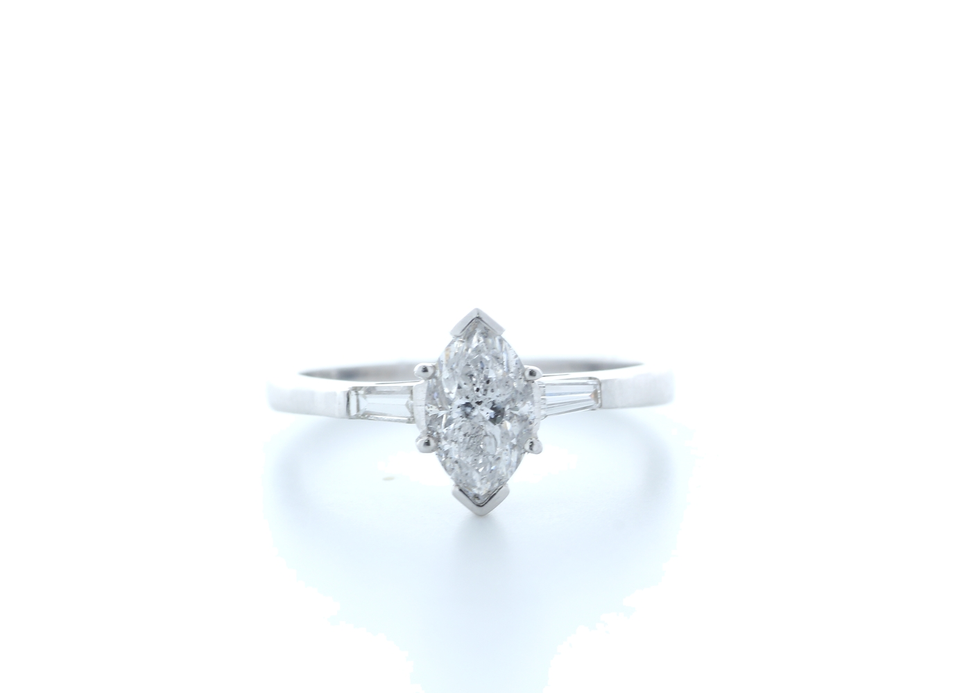 18ct White Gold Marquise Diamond With Stone Set Shoulders 1.22 Carats