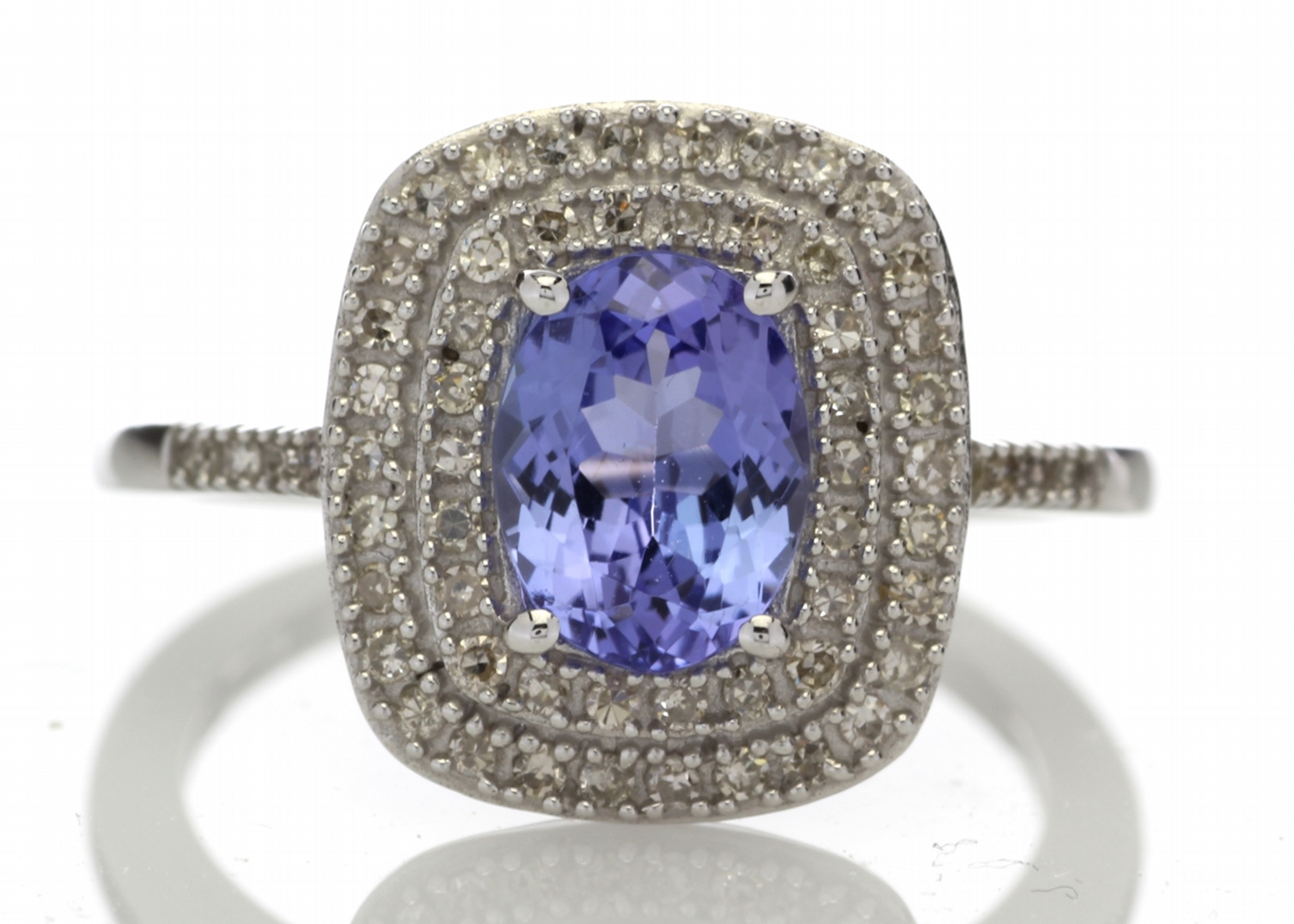 9ct Gold Oval Tanzanite And Diamond Cluster Ring 0.33 Carats