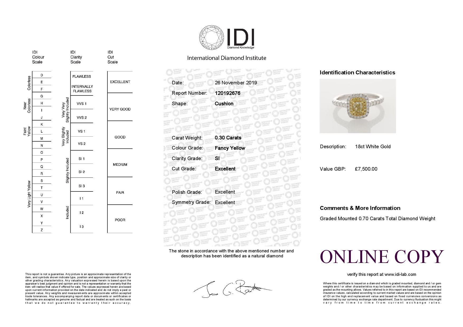 18ct White Gold Halo Set Ring 0.70 Carats - Image 5 of 5