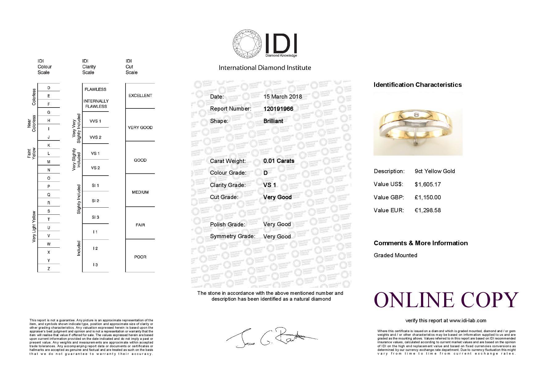 9ct Yellow Gold Single Stone Rub Over Set Diamond Ring - Image 5 of 5
