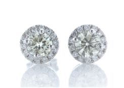 18ct White Gold Halo Set Earrings 1.29 Carats
