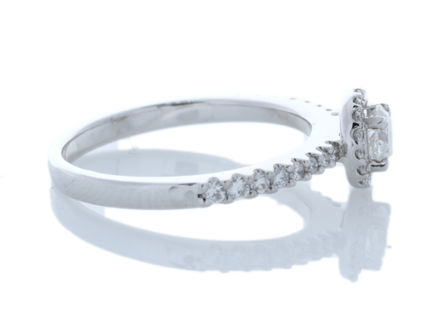 18ct White Gold Halo Set Ring 0.63 Carats - Image 4 of 5