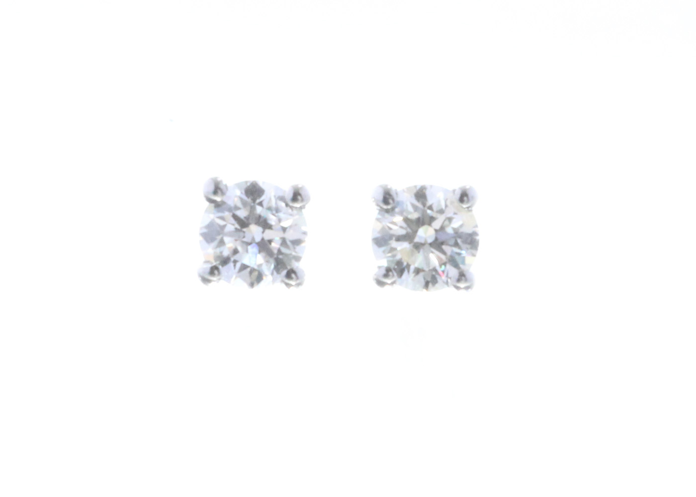 18ct White Gold Claw Set Diamond Earrings 0.40 Carats